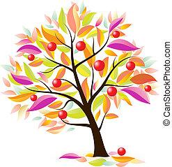 Stylized apple tree. Illustration on white background