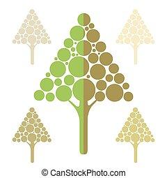 Stylized apple tree icons