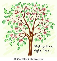 Stylized apple tree with lonely mysterious fruits. Vector