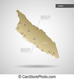 Stylized Aruba map vector illustration.