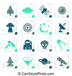 Stylized astronautics, space and universe icons