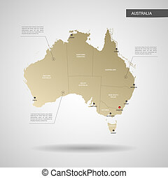 Stylized Australia map vector illustration.