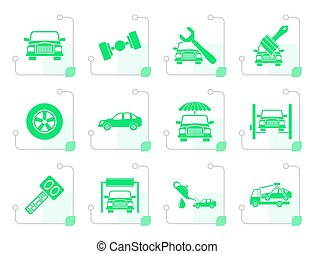 Stylized auto service and transportation icons