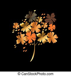 stylized autumn floral tree vector illustration. fall hot color natural decorative design with gold elements. abstract season vector on black background for invitation, header, cover, poster.