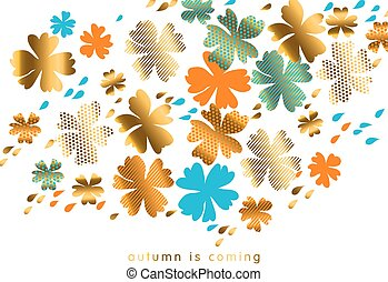 stylized autumn floral vector pattern illustration. fall hot color natural decorative design with gold elements. abstract season vector on white background for invitation, header, cover, poster.