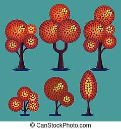 Stylized Autumn Plants Set