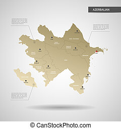 Stylized vector Azerbaijan map. Infographic 3d gold map illustration with cities, borders, capital, administrative divisions and pointer marks, shadow; gradient background.