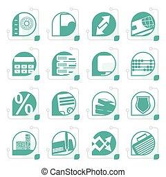 stylized, banco, negócio, finanças, e, ícones escritório