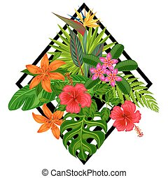 stylized, baner, bladen, booklets, tropisk, flowers., ...