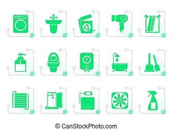 stylized, banheiro, banheiro, objetos, ícones