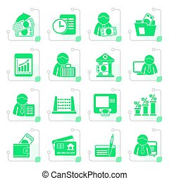 Stylized Bank and Finance Icons