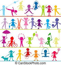 stylized, barn, bakgrund, leka