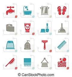 Stylized Bathroom and Personal Care icons-