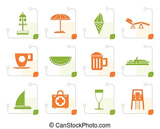 Stylized beach and holiday icons