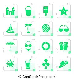 Stylized Beach, sea and holiday icons