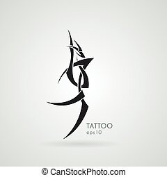 stylized, beeld, tattoo., dragon., vector.