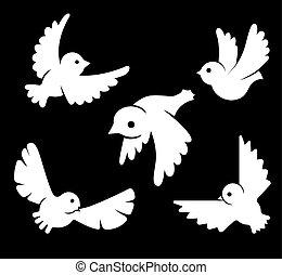 stylized, beelden, van, vogels