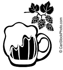 beer mug and hop - Stylized beer mug and hop isolated on a...