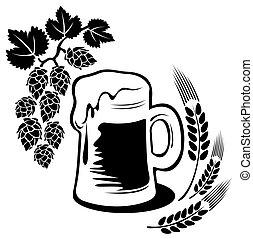 beer mug - Stylized beer mug isolated on a white background....