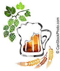 beer mug - Stylized beer mug isolated on a white background.