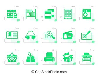 stylized, bibliotheek, en, boekjes , iconen