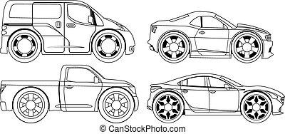 stylized, bilerne, book:, coloring, sæt