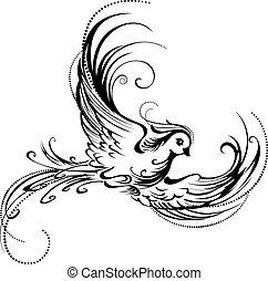 Stylized bird - artistically painted, contour bird on a...