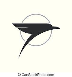 Stylized bird icon design element