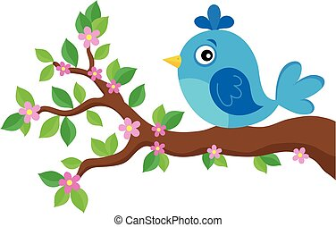 Stylized bird on spring branch theme 3