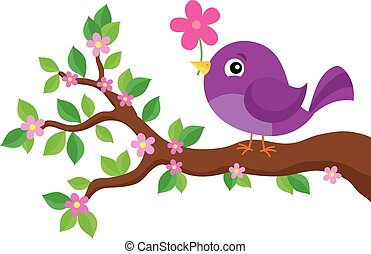 Stylized bird on spring branch theme 4