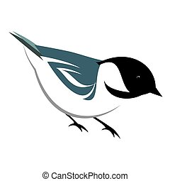 Stylized Black Capped chickadee illustration