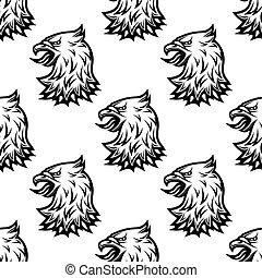 Stylized black eagle seamless pattern