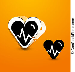 Stylized black heart abstract background