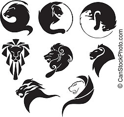 Stylized black lions. Set of black and white vector illustrations.