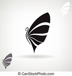 Stylized black silhouette of a butterfly.
