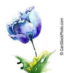 stylized, blauwe bloemen, tulp
