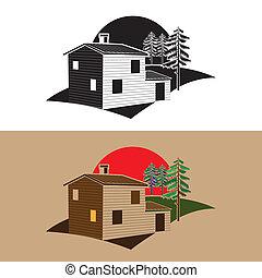 stylized block house