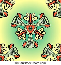 stylized, bloemen, gemaakt, seamless, achtergrond