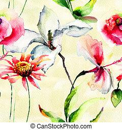 stylized, bloemen, seamless, behang