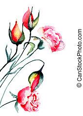 stylized, bloemen