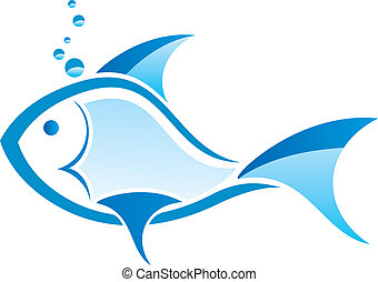 stylized blue fish vector design on a white background