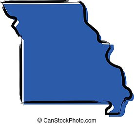 Stylized blue sketch map of Missouri illustration vector