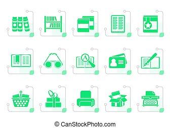 stylized, boekjes , bibliotheek, iconen