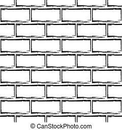 Stylized Brick Wall Vector Background Abstract Black And White Seamless Pattern Modern Monochrome Wallpaper Can Be Used For Graphic Design Fill