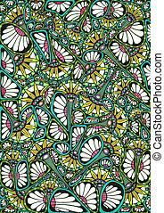 Stylized bright natural pattern - Freehand drawing. Stylized...