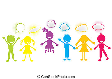 stylized, bubblar, färgad, pratstund, barn