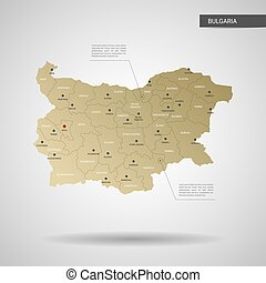 Stylized Bulgaria map vector illustration.