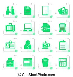 Stylized Business and office elements icons