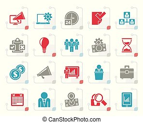 Stylized Business management concept icons