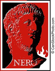 roman emperor nero - stylized bust of cruel roman emperor...